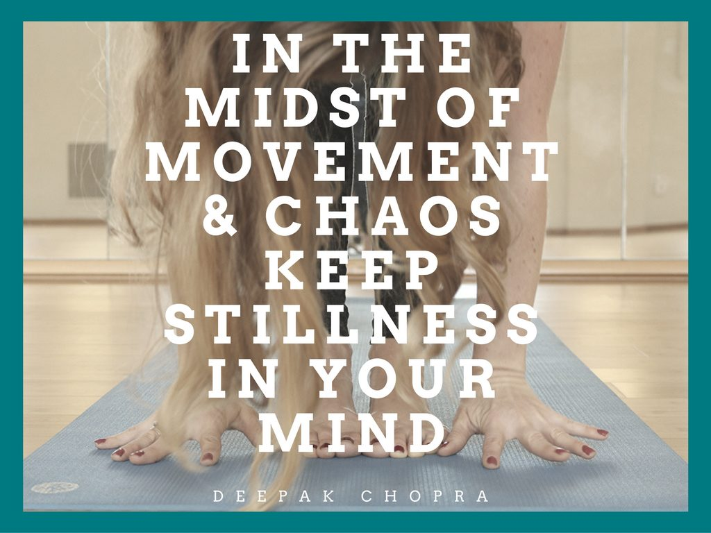 In the midst of movement and chaos, keep stillness in your mind.