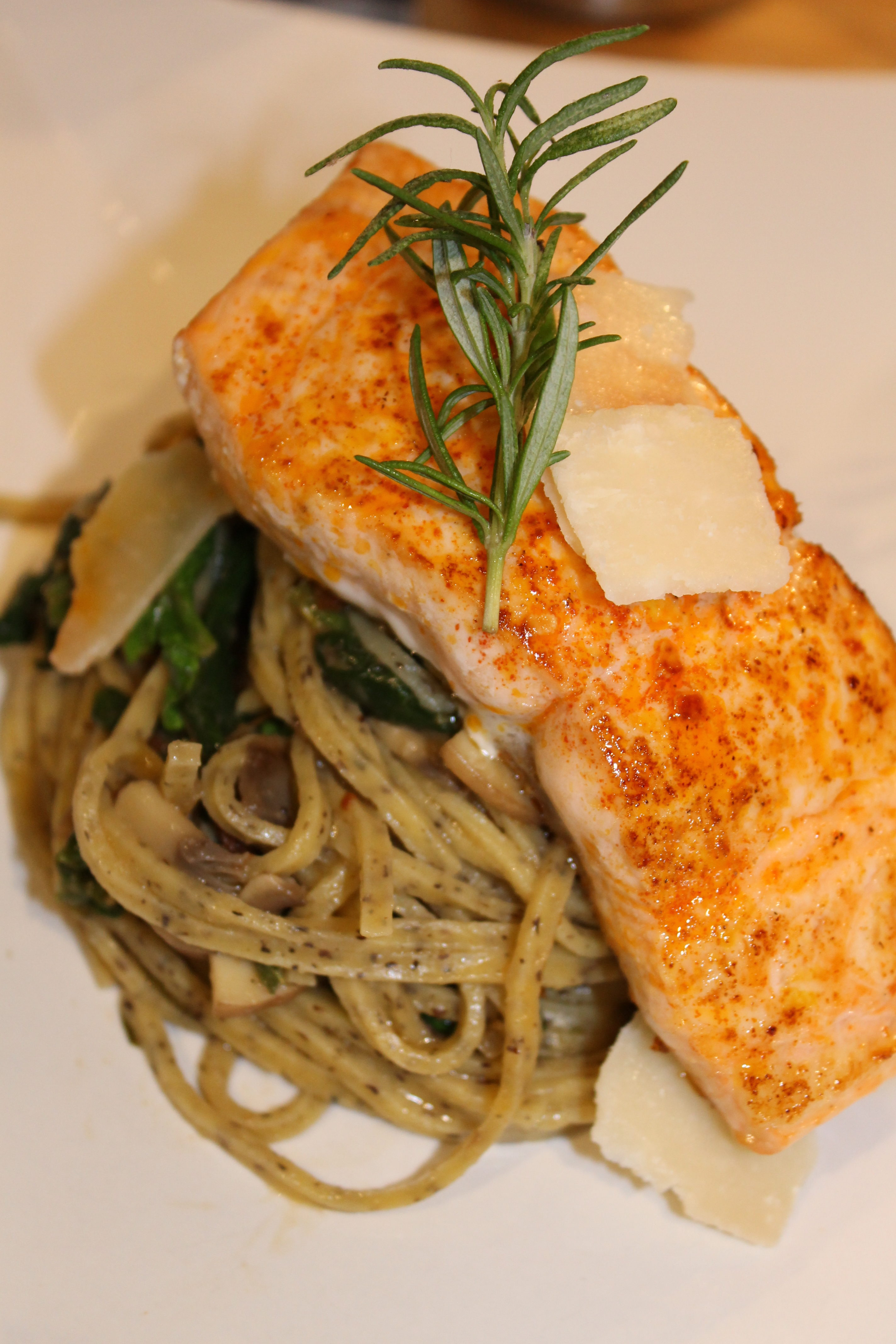 Truffle Pasta with Lemon Seared Salmon