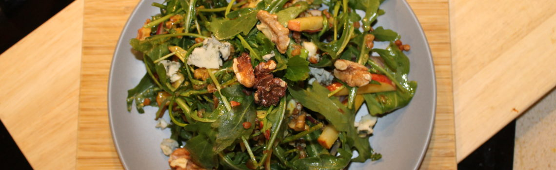 Apple, Walnut & Arugula Salad with Oriental Mustard Vinaigrette