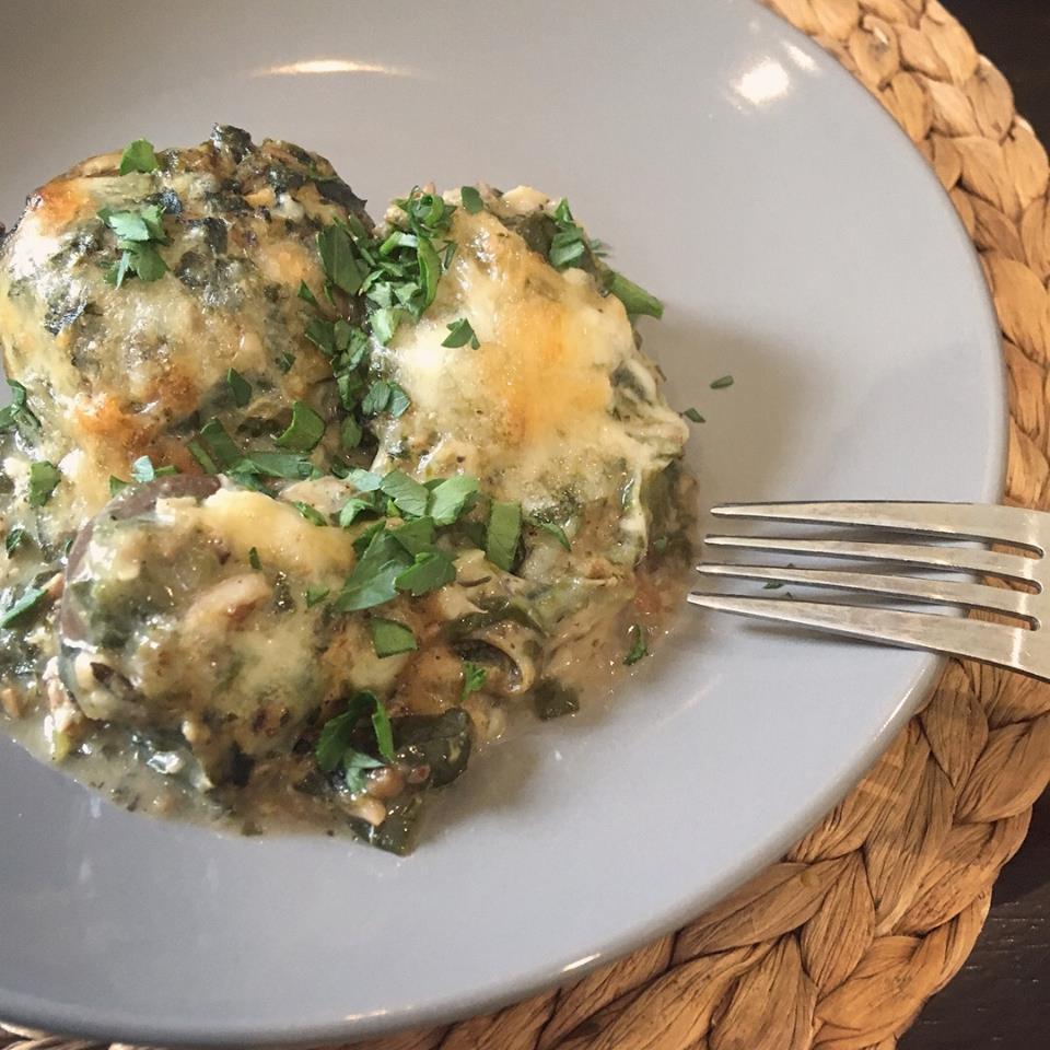 Spinach & Shiitake Stuffed Cremini Mushrooms